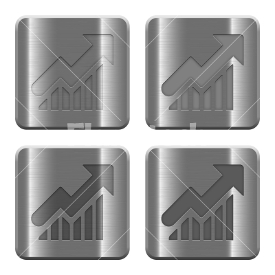 Metal Graph buttons - Set of Graph buttons vector in brushed metal style. Arranged layer, color and graphic style structure.
