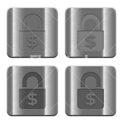 Metal Locked money buttons - Set of Locked money buttons vector in brushed metal style. Arranged layer, color and graphic style structure.