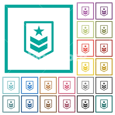 Military rank flat color icons with quadrant frames - Stock vector ...