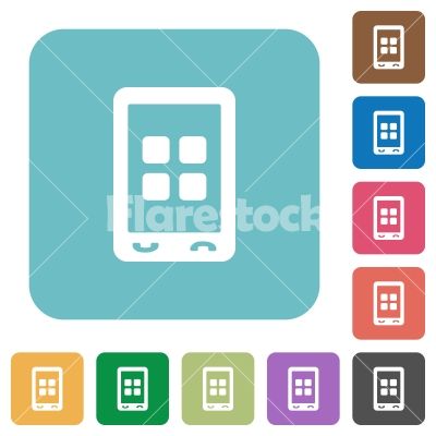 Mobile applications rounded square flat icons - Mobile applications white flat icons on color rounded square backgrounds
