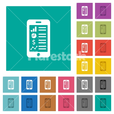Mobile applications square flat multi colored icons - Mobile applications multi colored flat icons on plain square backgrounds. Included white and darker icon variations for hover or active effects.