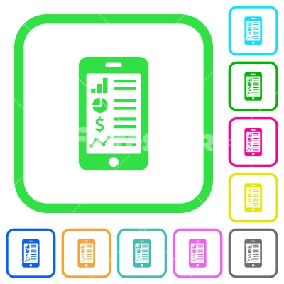 Mobile applications vivid colored flat icons - Mobile applications vivid colored flat icons in curved borders on white background