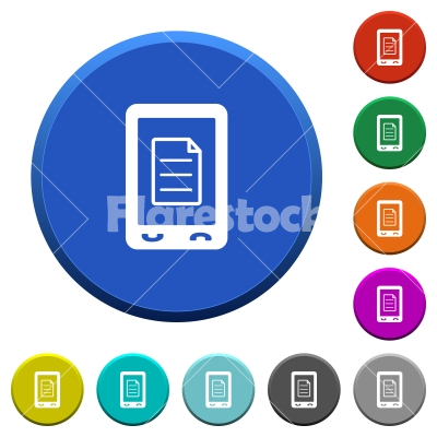 Mobile call list beveled buttons - Mobile call list round color beveled buttons with smooth surfaces and flat white icons
