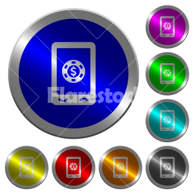 Mobile casino luminous coin-like round color buttons - Mobile casino icons on round luminous coin-like color steel buttons