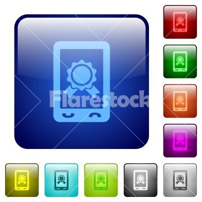 Mobile certification color square buttons - Mobile certification icons in rounded square color glossy button set