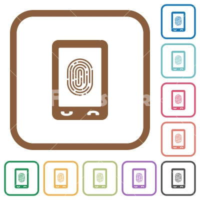 Mobile fingerprint identification simple icons - Mobile fingerprint identification simple icons in color rounded square frames on white background