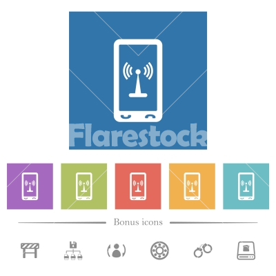 Mobile hotspot flat white icons in square backgrounds - Mobile hotspot flat white icons in square backgrounds. 6 bonus icons included.