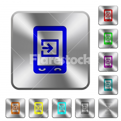 Mobile import data rounded square steel buttons - Mobile import data engraved icons on rounded square glossy steel buttons