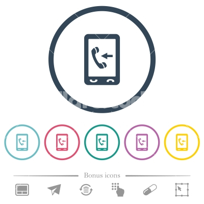 Mobile incoming call flat color icons in round outlines - Mobile incoming call flat color icons in round outlines. 6 bonus icons included. - Free stock vector