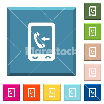 Mobile incoming call white icons on edged square buttons - Mobile incoming call white icons on edged square buttons in various trendy colors