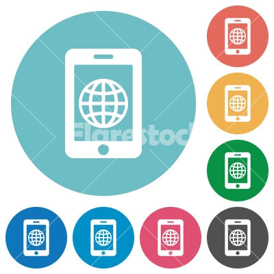 Mobile internet flat round icons - Mobile internet flat white icons on round color backgrounds