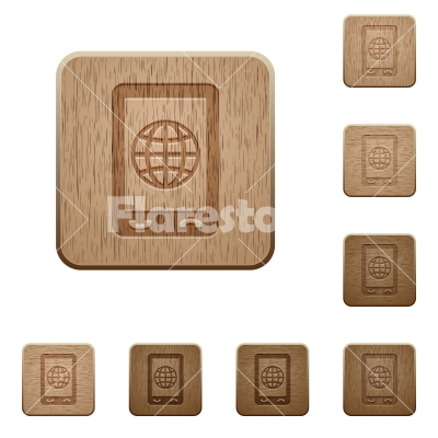 Mobile internet wooden buttons - Mobile internet on rounded square carved wooden button styles