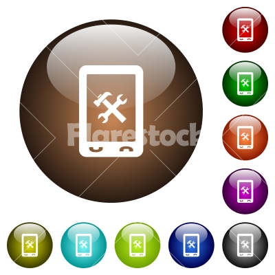 Mobile maintenance color glass buttons - Mobile maintenance white icons on round color glass buttons