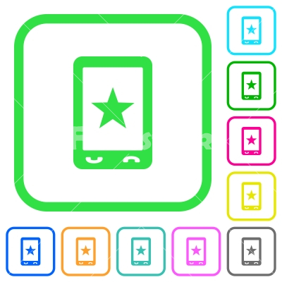 Mobile mark vivid colored flat icons - Mobile mark vivid colored flat icons in curved borders on white background