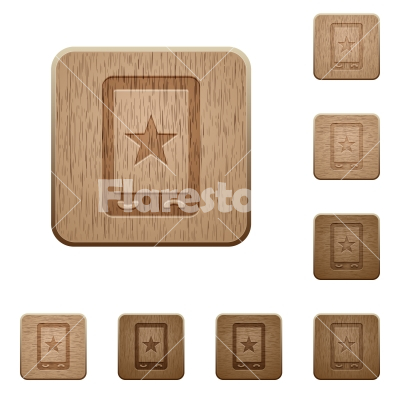 Mobile mark wooden buttons - Mobile mark on rounded square carved wooden button styles