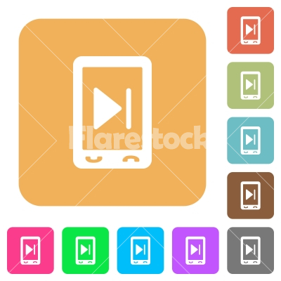Mobile media next rounded square flat icons - Mobile media next flat icons on rounded square vivid color backgrounds.