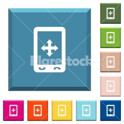 Mobile move gesture white icons on edged square buttons - Mobile move gesture white icons on edged square buttons in various trendy colors