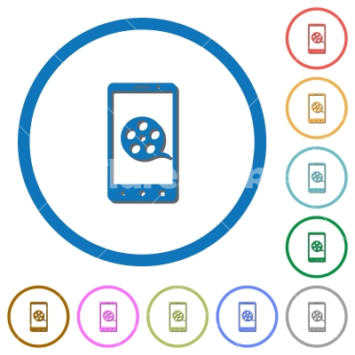 Mobile movie icons with shadows and outlines - Mobile movie flat color vector icons with shadows in round outlines on white background