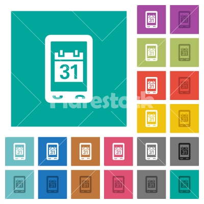 Mobile organizer square flat multi colored icons - Mobile organizer multi colored flat icons on plain square backgrounds. Included white and darker icon variations for hover or active effects. - Free stock vector