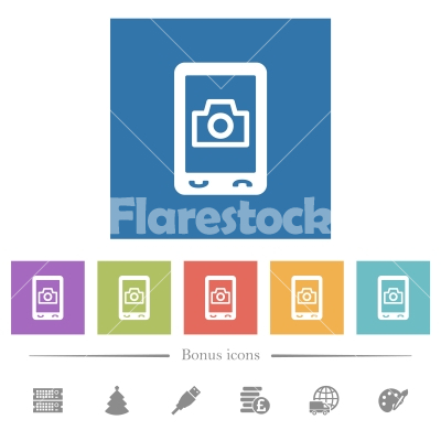 Mobile photography flat white icons in square backgrounds - Mobile photography flat white icons in square backgrounds. 6 bonus icons included.