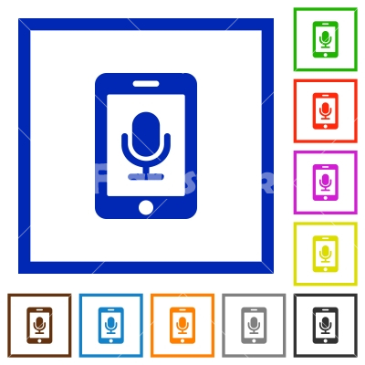 Mobile recording flat framed icons - Mobile recording flat color icons in square frames on white background