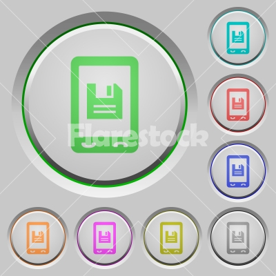 Mobile save data push buttons - Mobile save data color icons on sunk push buttons