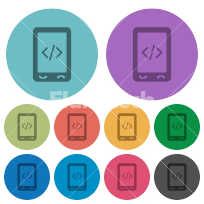 Mobile scripting color darker flat icons - Mobile scripting darker flat icons on color round background