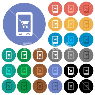 Mobile shopping round flat multi colored icons - Mobile shopping multi colored flat icons on round backgrounds. Included white, light and dark icon variations for hover and active status effects, and bonus shades on black backgounds.
