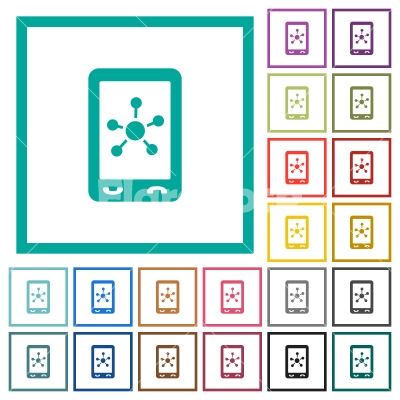 Mobile social networking flat color icons with quadrant frames - Mobile social networking flat color icons with quadrant frames on white background