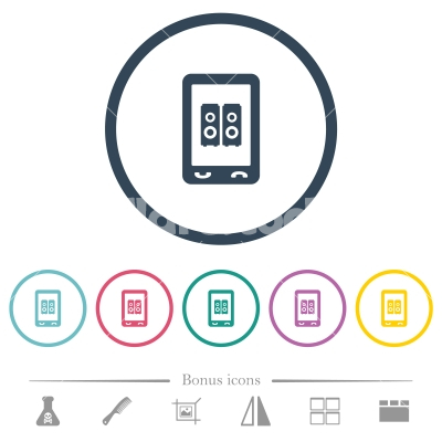Mobile speakerphone flat color icons in round outlines - Mobile speakerphone flat color icons in round outlines. 6 bonus icons included.