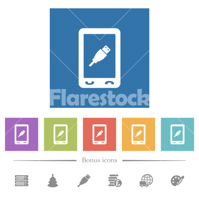 Mobile usb connection flat white icons in square backgrounds - Mobile usb connection flat white icons in square backgrounds. 6 bonus icons included.