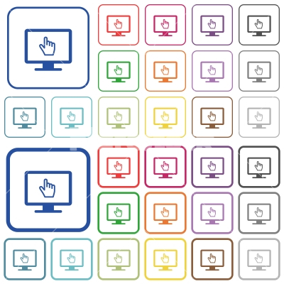 Monitor with pointing cursor outlined flat color icons - Monitor with pointing cursor color flat icons in rounded square frames. Thin and thick versions included.