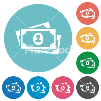 More banknotes with portrait flat round icons - More banknotes with portrait flat white icons on round color backgrounds