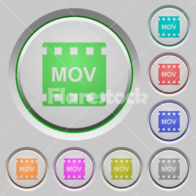 MOV movie format push buttons - MOV movie format color icons on sunk push buttons