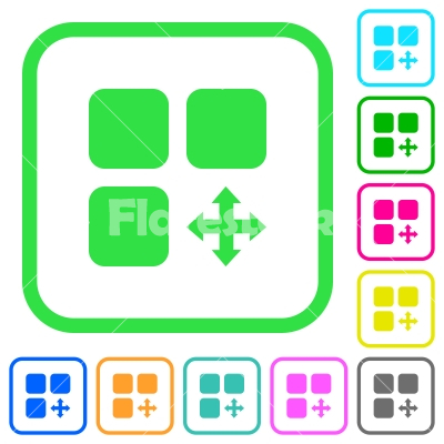 Move component vivid colored flat icons - Move component vivid colored flat icons in curved borders on white background