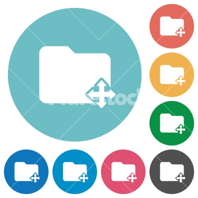 Move folder flat round icons - Move folder flat white icons on round color backgrounds