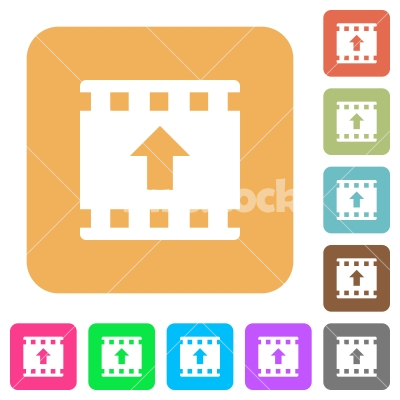 Move Up Movie Rounded Square Flat Icons Stock Vector Flarestock