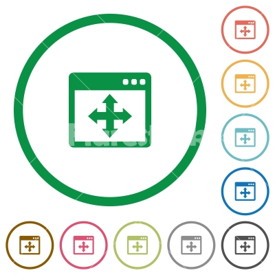 Move window outlined flat icons - Set of Move window color round outlined flat icons on white background