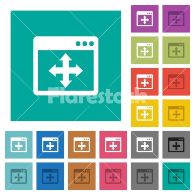 Move window square flat multi colored icons - Move window multi colored flat icons on plain square backgrounds. Included white and darker icon variations for hover or active effects.