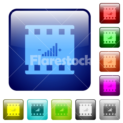 Movie adjusting color square buttons - Movie adjusting icons in rounded square color glossy button set
