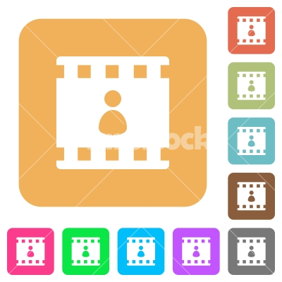 Movie author rounded square flat icons - Movie author flat icons on rounded square vivid color backgrounds.