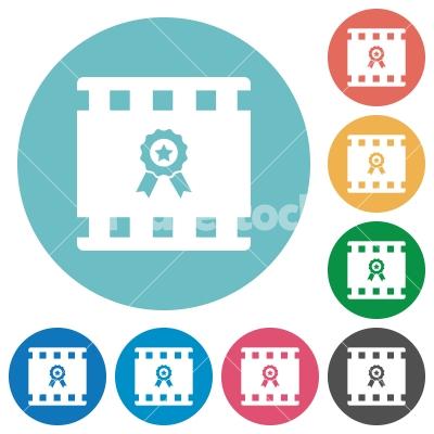 Movie award flat round icons - Movie award flat white icons on round color backgrounds
