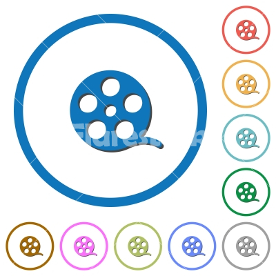 Movie roll icons with shadows and outlines - Movie roll flat color vector icons with shadows in round outlines on white background