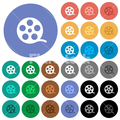 Movie roll round flat multi colored icons - Movie roll multi colored flat icons on round backgrounds. Included white, light and dark icon variations for hover and active status effects, and bonus shades on black backgounds.
