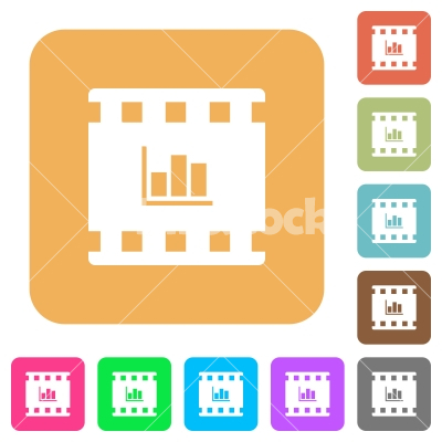 Movie statistics rounded square flat icons - Movie statistics flat icons on rounded square vivid color backgrounds. - Free stock vector