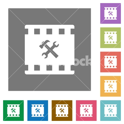Movie tools square flat icons - Movie tools flat icons on simple color square backgrounds