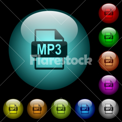 MP3 file format icons in color illuminated glass buttons - MP3 file format icons in color illuminated spherical glass buttons on black background. Can be used to black or dark templates