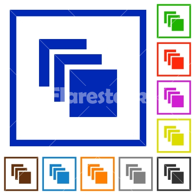 Multiple canvases flat framed icons - Multiple canvases flat color icons in square frames on white background