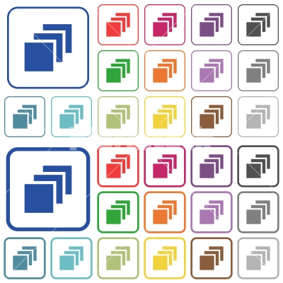 Multiple canvases outlined flat color icons - Multiple canvases color flat icons in rounded square frames. Thin and thick versions included.