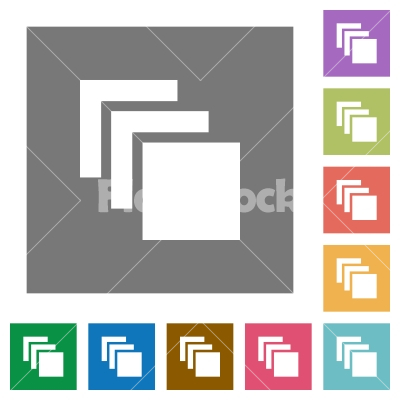 Multiple canvases square flat icons - Multiple canvases flat icons on simple color square backgrounds